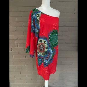 Hello Miss One shoulder Print Dress  L